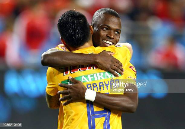 Enner Valencia of Tigres UANL celebrates a goal with Lucas Zelarayán during the second half of the 2018 Campeones Cup Final against Toronto FC at BMO...