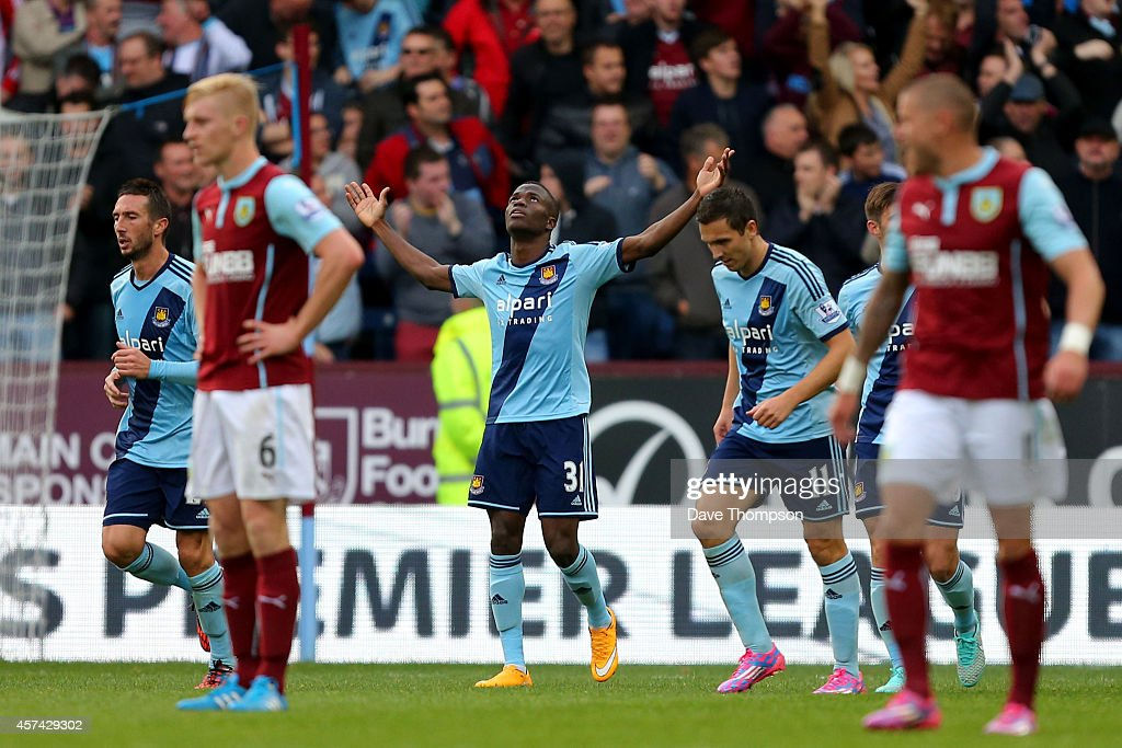 Enner Valencia of West Ham celebrates after scoring his team's second goal during the Barclays Premier League match between Burnley and West Ham United at Turf Moor on October 18, 2014 in Burnley, England.