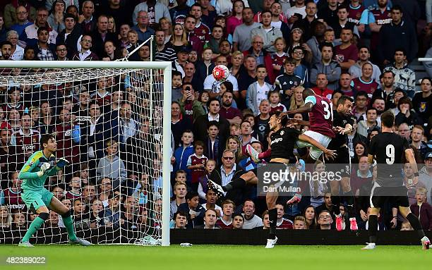 Enner Valencia of West Ham scores his side's opening goal during the UEFA Europa League third qualifying round match between West Ham United and...