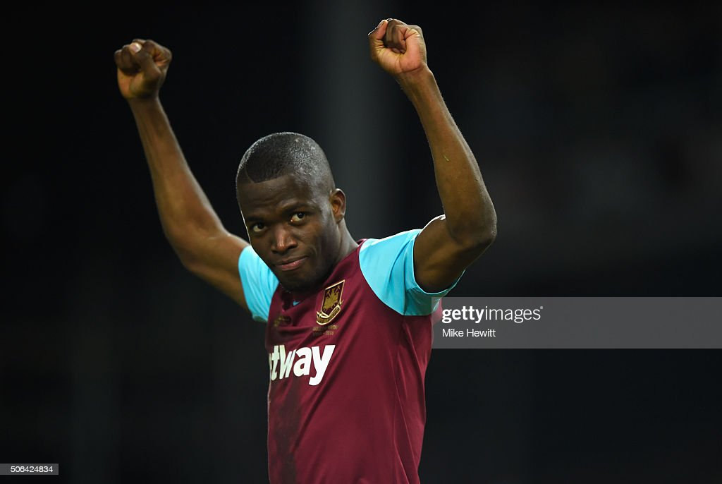 Enner Valencia of West Ham United celebrates as he scores their second goal during the Barclays Premier League match between West Ham United and Manchester City at the Boleyn Ground on January 23, 2016 in London, England.