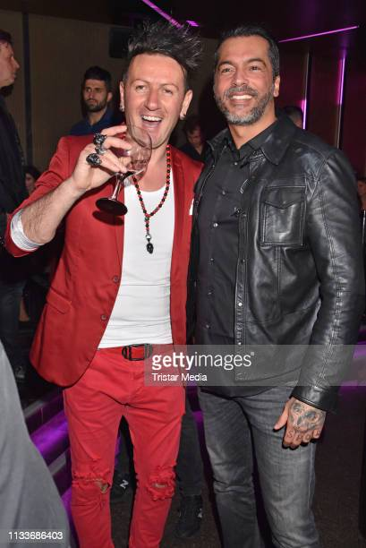 Ennesto Monte and Aurelio Savina during the Giulia song release party at Cheshire Cat Club on March 29 2019 in Berlin Germany