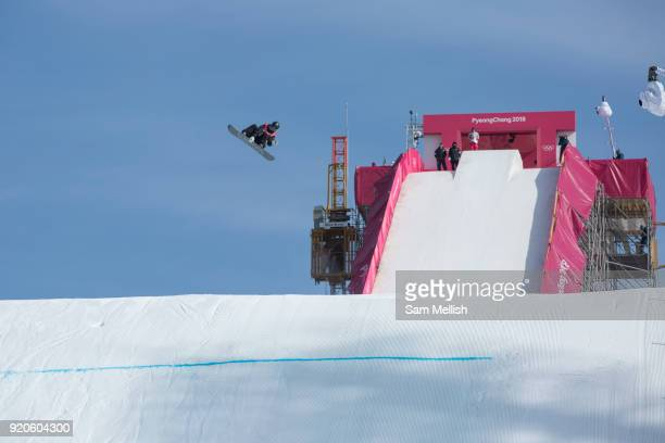 Enni Rukajarvi Finland competes at the ladies big air qualification during the Pyeongchang Winter Olympics 2018 on February 19th 2018 at the Alpensia...