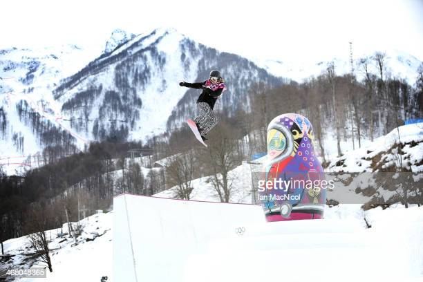 Enni Rukajarvi of Finland competes during the Snowboard Women's Slopestyle Final during day 2 of the Sochi 2014 Winter Olympics at Rosa Khutor...