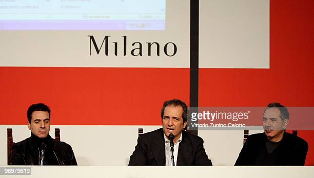 Ennio Capasa Giovanni Terzi and Carlo Capasa attend the Milan Loves Fahion Press Conference held at Palazzo Marino on February 23 2010 in Milan Italy