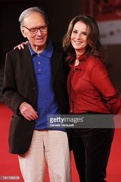 Ennio Morricone and Debra Winger attends the International Jury Photocall during the 6th International Rome Film Festival at Auditorium Parco Della...