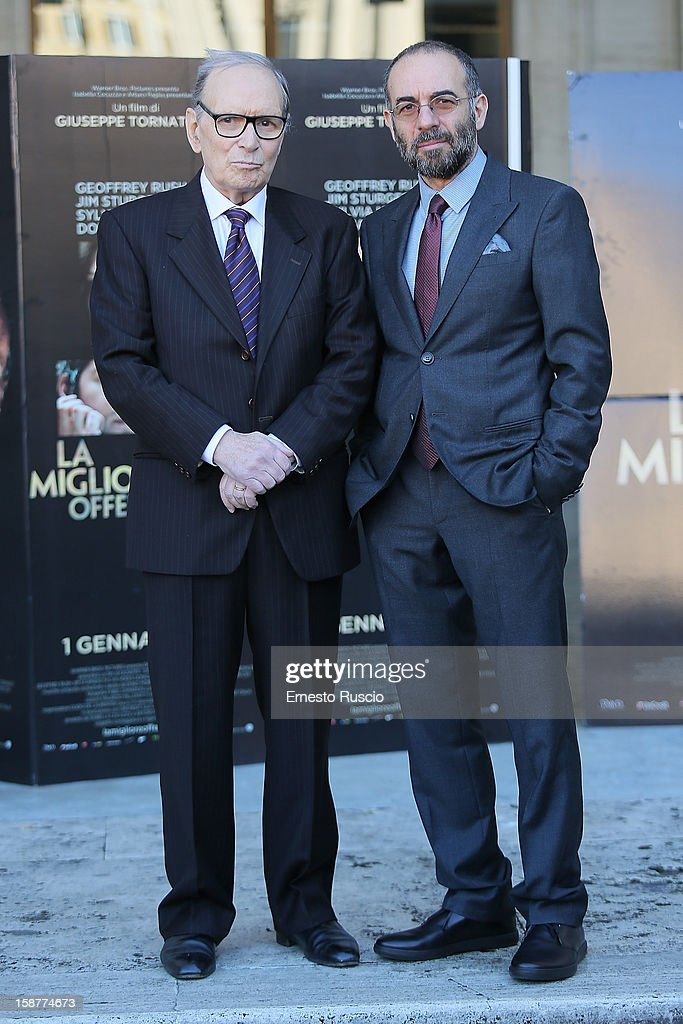 Ennio Morricone and Giuseppe Tornatore attend the 'La Migliore Offerta' photocall at The Space Moderno on December 28, 2012 in Rome, Italy.