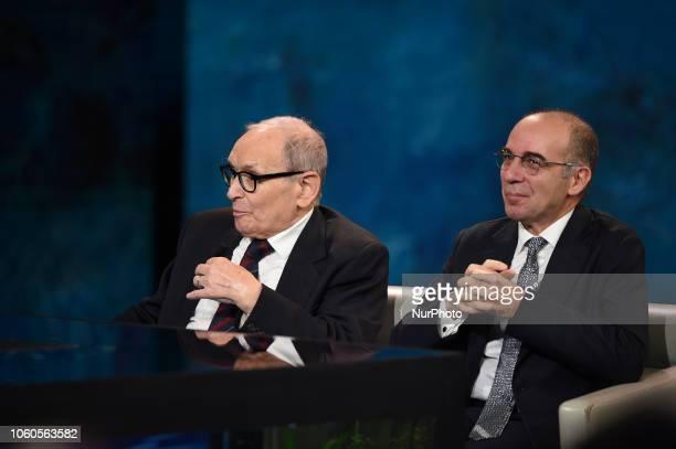 Ennio Morricone and Giuseppe Tornatore attends tv program quotChe tempo che faquot broadcast on air on Rai 1 italian public television on November 11...