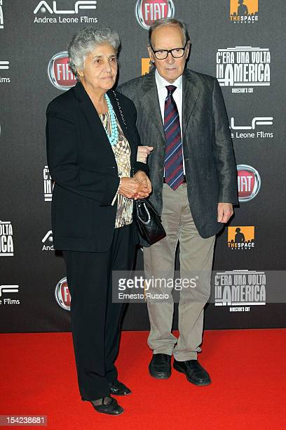 Ennio Morricone and his wife attend the 'C'era Una Volta In America Director's Cut' premiere at Space Moderno on October 16 2012 in Rome Italy