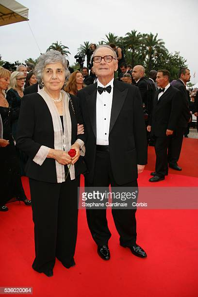Ennio Morricone and his wife Maria Travia arrive at the premiere of We Own The Night during the 60th Cannes Film Festival