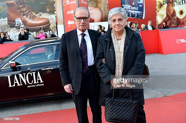 Ennio Morricone and his wife Maria Travia attend the 'Tornatore Ogni Film Un'Opera Prima'' premiere during the 7th Rome Film Festival on November 17...