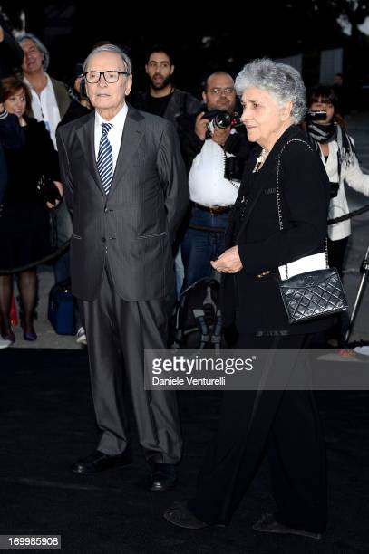Ennio Morricone and Maria Travia attend 'One Night Only' Roma on June 5 2013 in Rome Italy