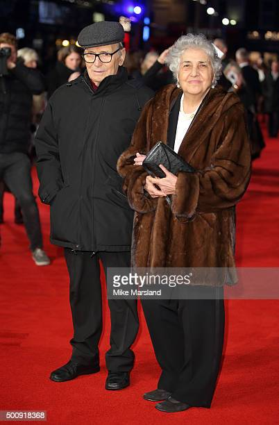 Ennio Morricone and Maria Travia attend the European Premiere of The Hateful Eight at Odeon Leicester Square on December 10 2015 in London England