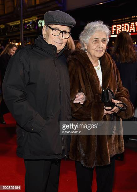 Ennio Morricone and Maria Travia attend the film premiere of The Hateful Eight at Odeon Leicester Square on December 10 2015 in London England