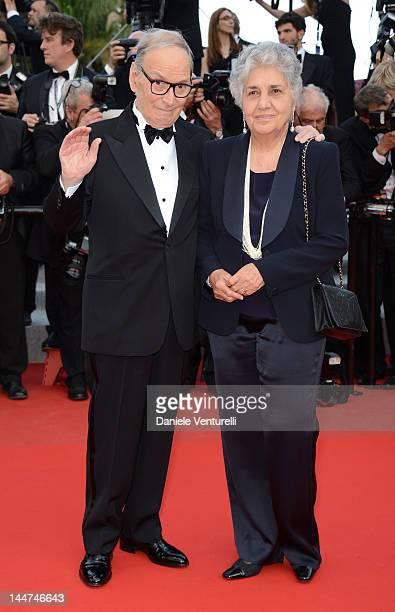 Ennio Morricone and Maria Travia attends the Madagascar 3 Europe's Most Wanted Premiere during the 65th Annual Cannes Film Festival at Palais des...