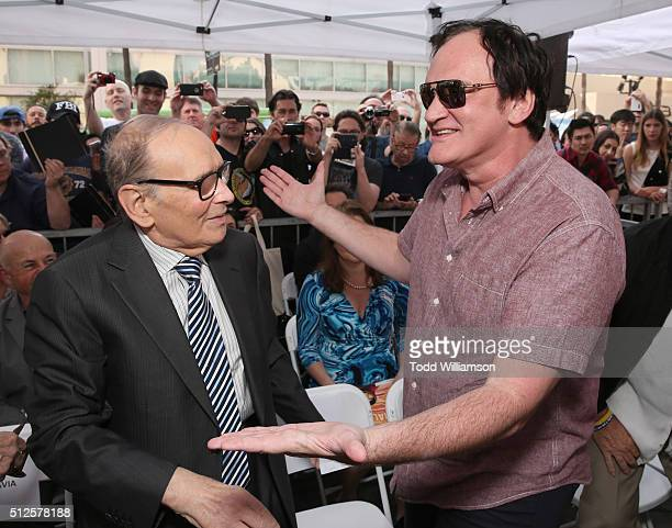 Ennio Morricone and Quentin Tarantino attend The Hateful Eight's Ennio Morricone Star Ceremony On The Hollywood Walk Of Fame at Hollywood Walk Of...