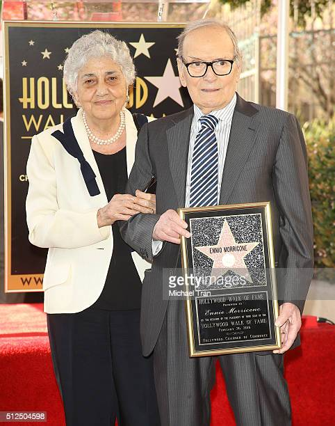 Ennio Morricone and wife Maria Travia attend the ceremony honoring him with a Star on The Hollywood Walk of Fame held on February 26 2016 in...