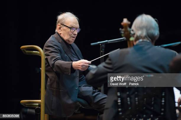 Ennio Morricone performs at AccorHotels Arena on September 21 2017 in Paris France