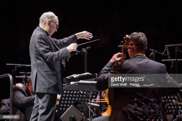 Ennio Morricone performs at Palais Omnisports de Bercy on February 4 2014 in Paris France