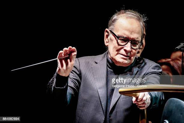 Ennio Morricone performs on stage on December 2 2017 in Milan Italy