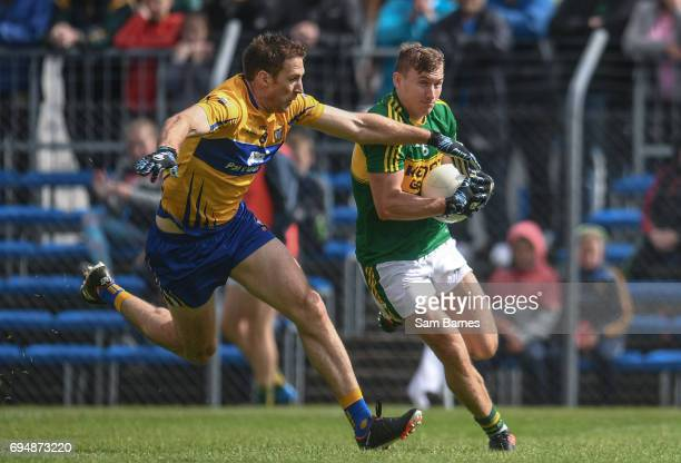 Ennis Ireland 11 June 2017 James O'Donoghue of Kerry in action against Gary Brennan of Clare during the Munster GAA Football Senior Championship...