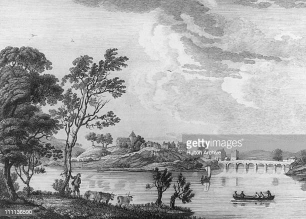 Enniskillen in County Fermanagh Northern Ireland circa 1775 Published 1778 engraved by T Mazell after a painting by P Sandby RA