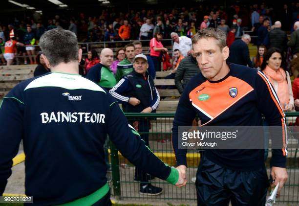 Enniskillen Ireland 19 May 2018 Fermanagh manager Rory Gallagher and Armagh manager Kieran McGeeney shake hands after the Ulster GAA Football Senior...