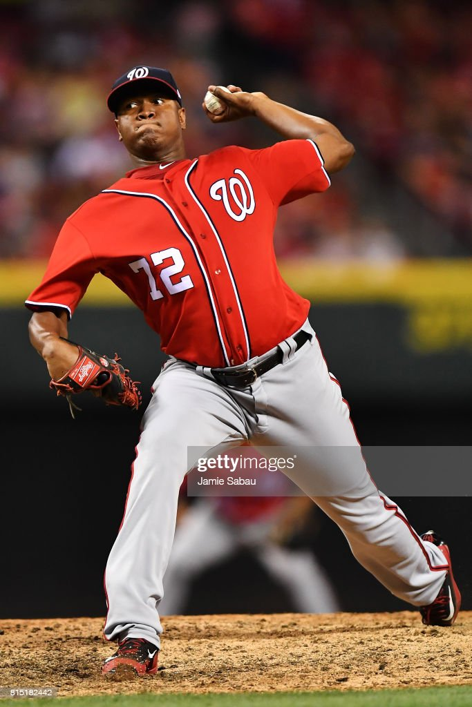 Enny Romero #72 of the Washington Nationals pitches in the seventh inning against the Cincinnati Reds at Great American Ball Park on July 15, 2017 in Cincinnati, Ohio. Washington defeated Cincinnati 10-7.