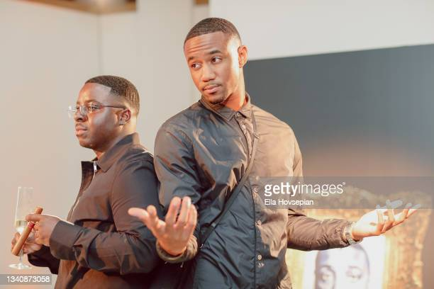 Enoch and Jessie T. Usher attend The One And Only, Dick Gregory, Album Release Event on September 16, 2021 in Burbank, California.