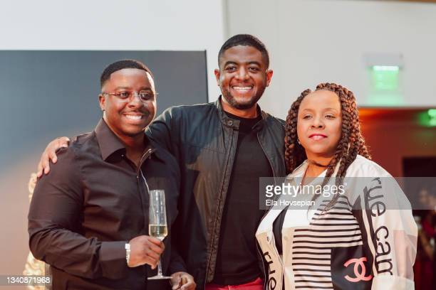 Enoch, Andre Gains and Nicole Parke attend The One And Only, Dick Gregory, Album Release Event on September 16, 2021 in Burbank, California.