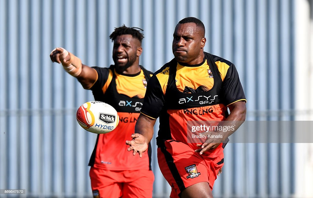 Enock Maki passes the ball during a Papua New Guinea Kumuls Rugby League World Cup training session at the Oil Search National Football Stadium on November 3, 2017 in Port Moresby, Papua New Guinea.