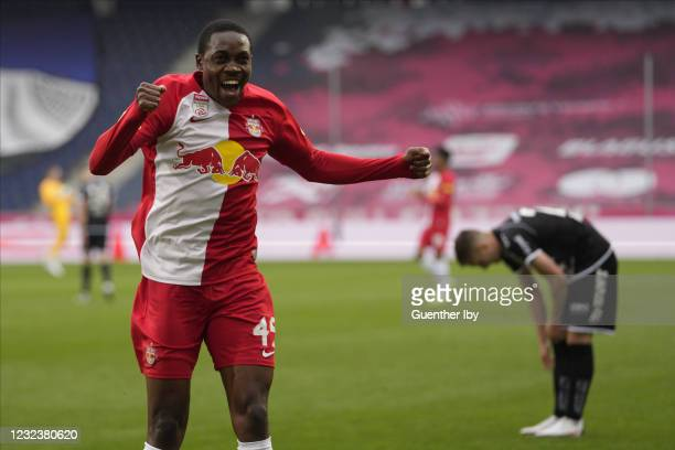 Enock Mwepu of Salzburg after the goal to 1:0 during the tipico Bundesliga match between FC Red Bull Salzburg and LASK at Red Bull Arena on April 18,...
