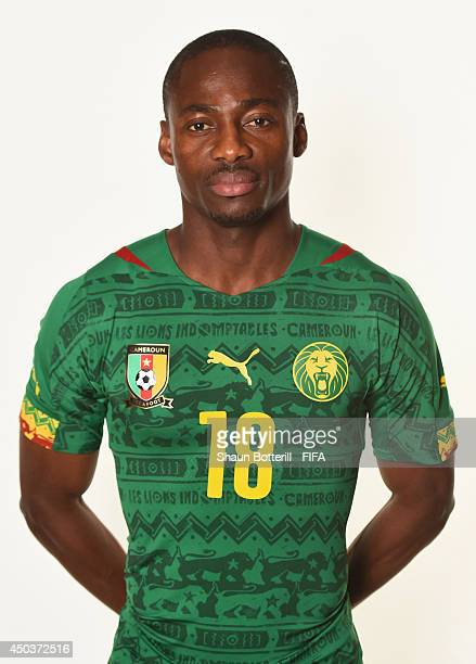Enoh Eyong of Cameroon poses during the official FIFA World Cup 2014 portrait session on June 9 2014 in Vitoria Brazil