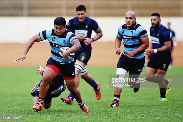 Enoka Mulifi of Marist makes a break during the club rugby game between Ponsonby and Marist at Western Springs Stadium on May 2 2015 in Auckland New...