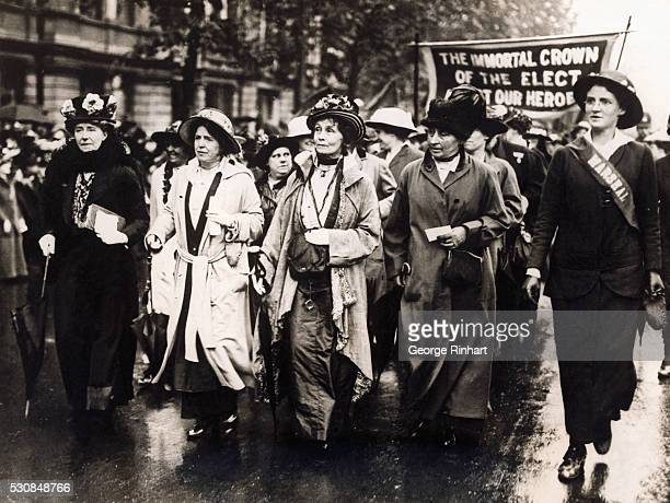 Enormous crowds of women thronged Victoria Embankment despite a drizzling rain to participate in the women's procession voicing the demand that the...