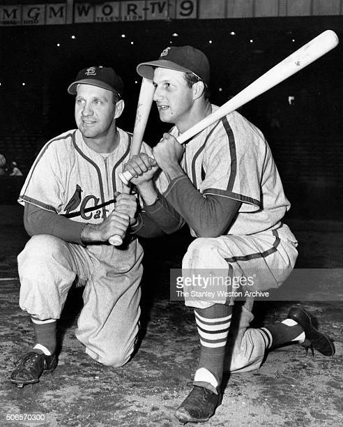Enos Slaughter and Stan Musial of the St Louis Cardinals pose for a portrait circa 1941