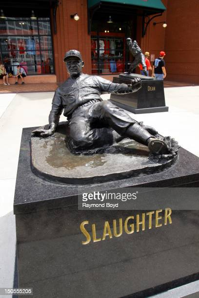 Enos Slaughter hall of fame statue in front of Busch Stadium home of the St Louis Cardinals in St Louis Missouri on AUGUST 04 2012