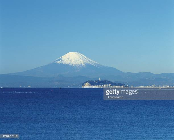 Enoshima Island and Mt. Fuji, Shonan, Kanagawa Prefecture, Japan, Front View, Pan Focus