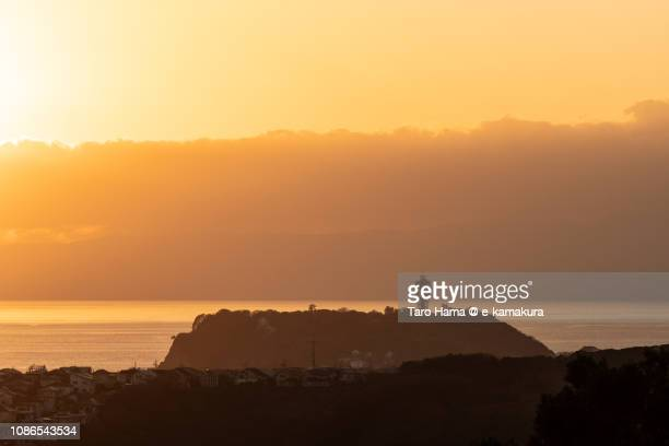 Enoshima Island and Sagami Bay, Northern Pacific Ocean in Japan in the sunset