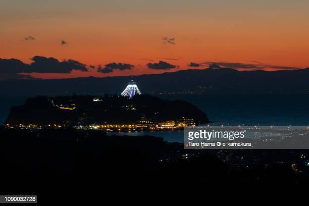 Enoshima Island in Japan in the sunset