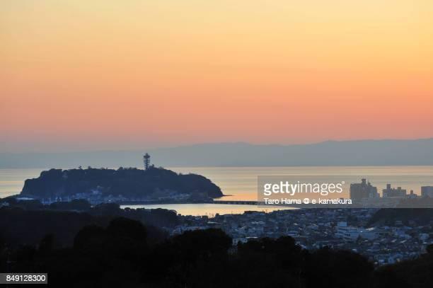 Enoshima Island, Izu Peninsula and Sagami Bay in the sunset