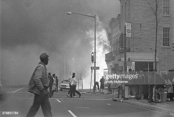 Enraged by the assassination of Martin Luther King Jr rioters set fire to buildings throughout the city