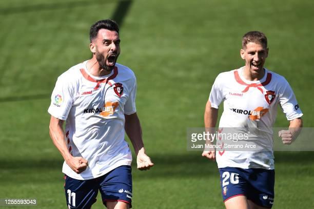 Enric Gallego of Osasuna celebrates after scoring his team's first goal during the Liga match between CA Osasuna and RC Celta de Vigo at on July 11,...