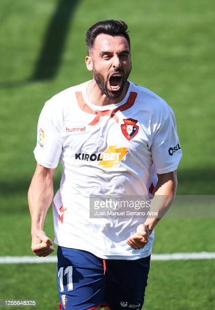 Enric Gallego of Osasuna celebrates after scoring his team's first goal during the Liga match between CA Osasuna and RC Celta de Vigo at Estadio El...