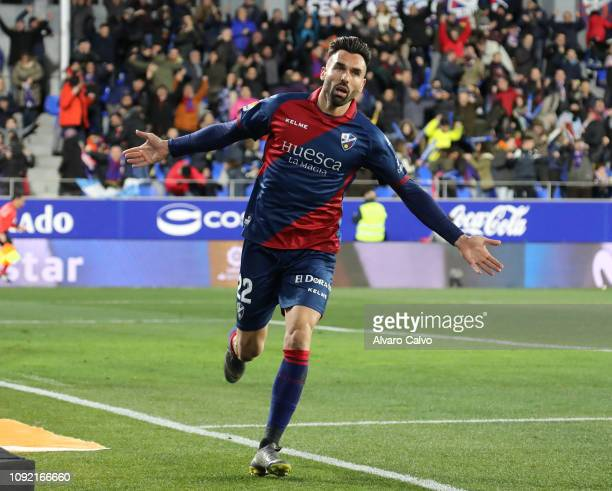 Enric Gallego of SD Huesca celebrates goal during the La Liga match between SD Huesca and Valladolid at El Alcoraz on February 1 2019 in Huesca Spain