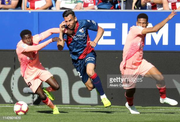 Enric Gallego of SD Huesca during the La Liga match between SD Huesca and FC Barcelona at El Alcoraz on April 14, 2019 in Huesca, Spain.