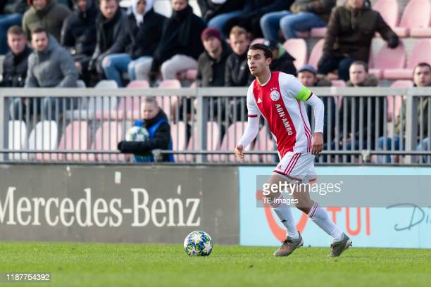 Enric Liansana of Ajax Amsterdam U19 controls the ball during the UEFA Youth League match between Ajax Amsterdam U19 and FC Valencia U19 on December...