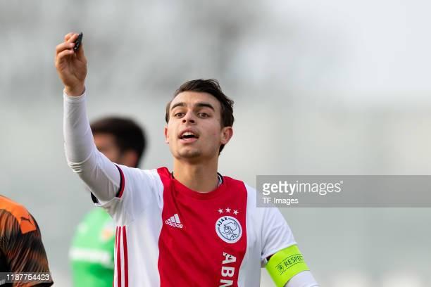 Enric Liansana of Ajax Amsterdam U19 gestures during the UEFA Youth League match between Ajax Amsterdam U19 and FC Valencia U19 on December 10 2019...
