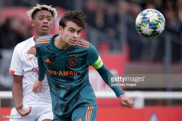 Enric Llansana of Ajax U19 during the match between Lile U19 v Ajax U19 at the Stade Domaine de Luchin on November 27 2019 in ChamphinenPevele France