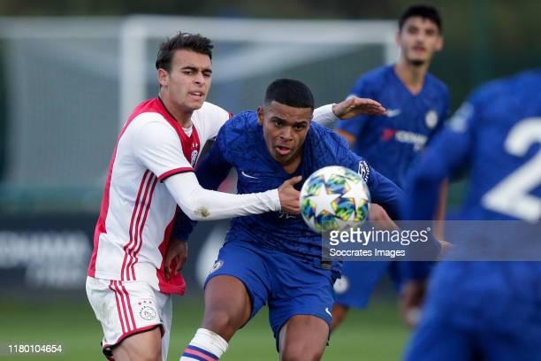 Enric Llansana of Ajax U19 Faustino Anjorin of Chelsea U19 during the match between Chelsea U19 v Ajax U19 at the Cobham Training Ground on November...