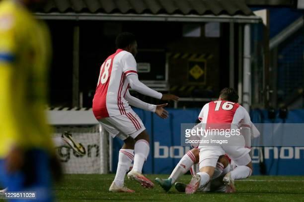 Enric Llansana of Ajax U23 celebrates 2-3 with Naci Unuvar of Ajax U23, Jaymillio Pinas of Ajax U23 during the Dutch Keuken Kampioen Divisie match...